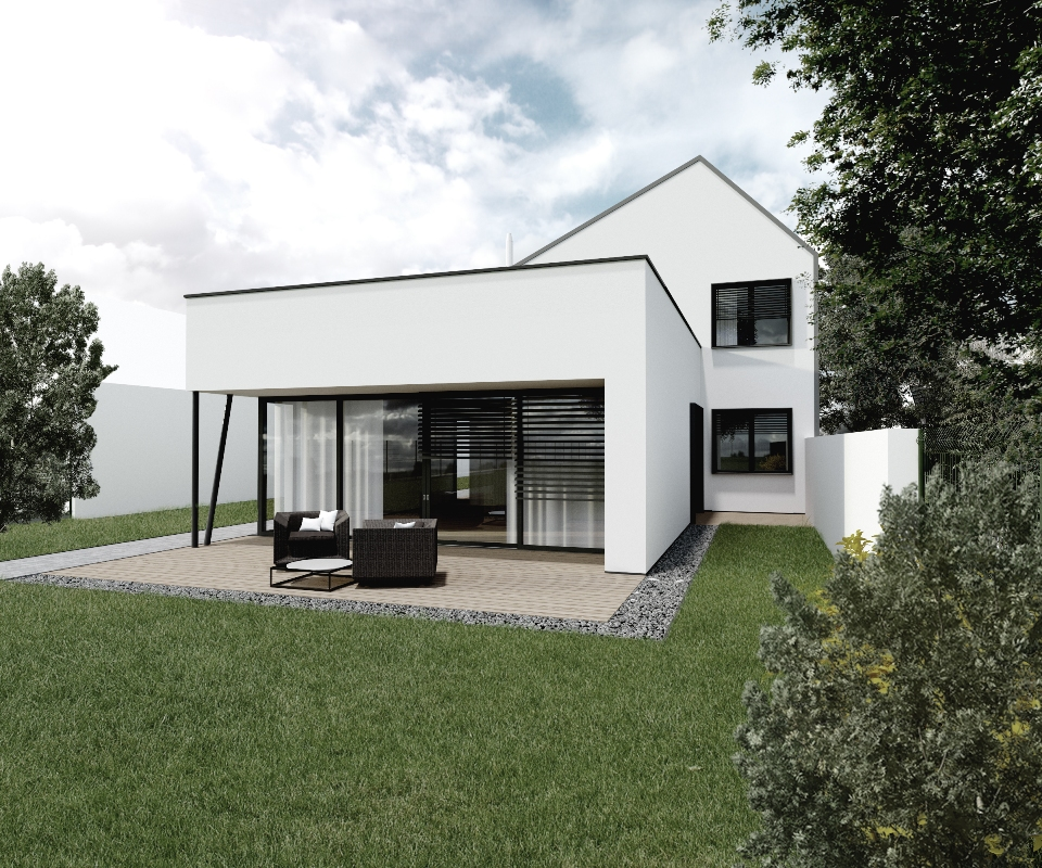 Poschodový dom na úzky pozemok - architektúra