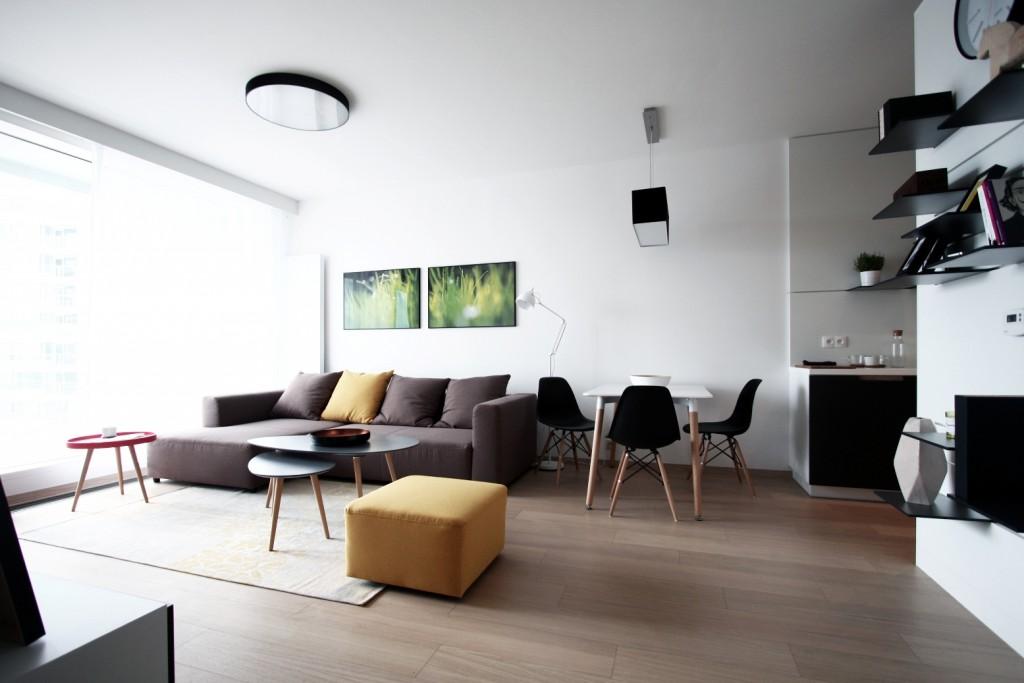 Obývačka s kuchynou - interierový-dizajn