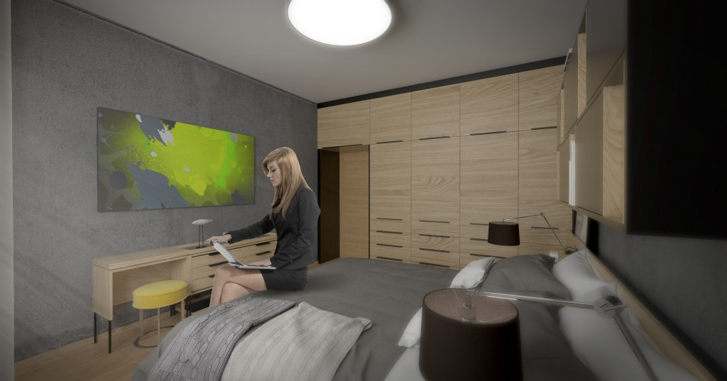 Návrh interiéru - moderná spálňa