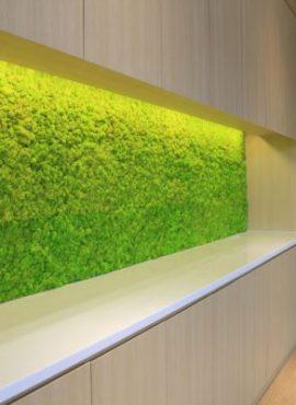 machová stena - netradičné materiály v interiéri