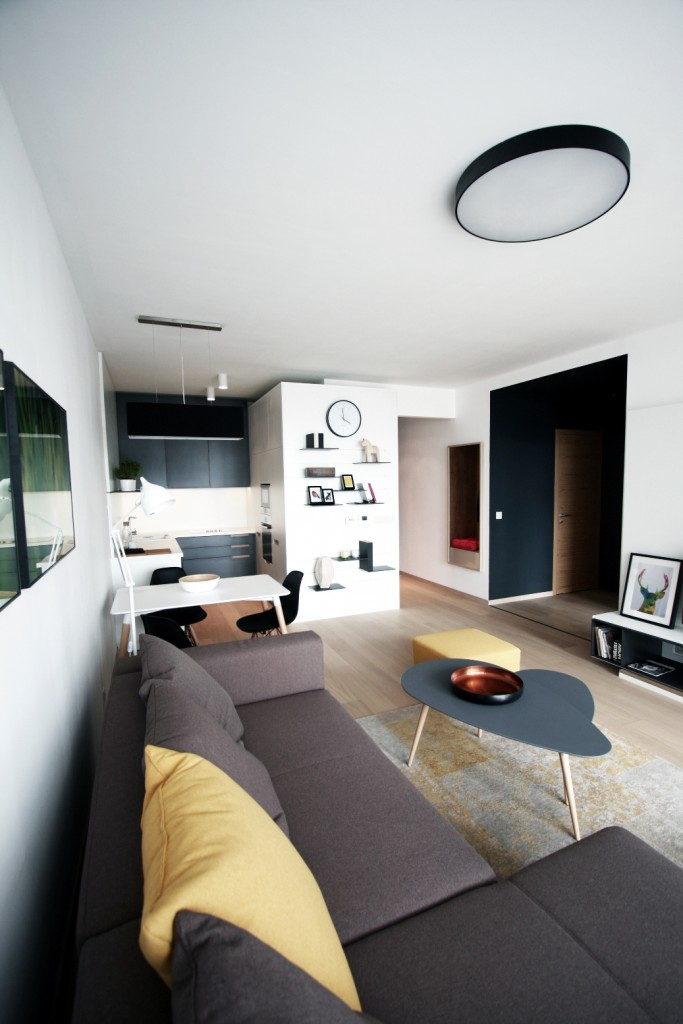Obývačka s kuchyňou - moderná architektúra