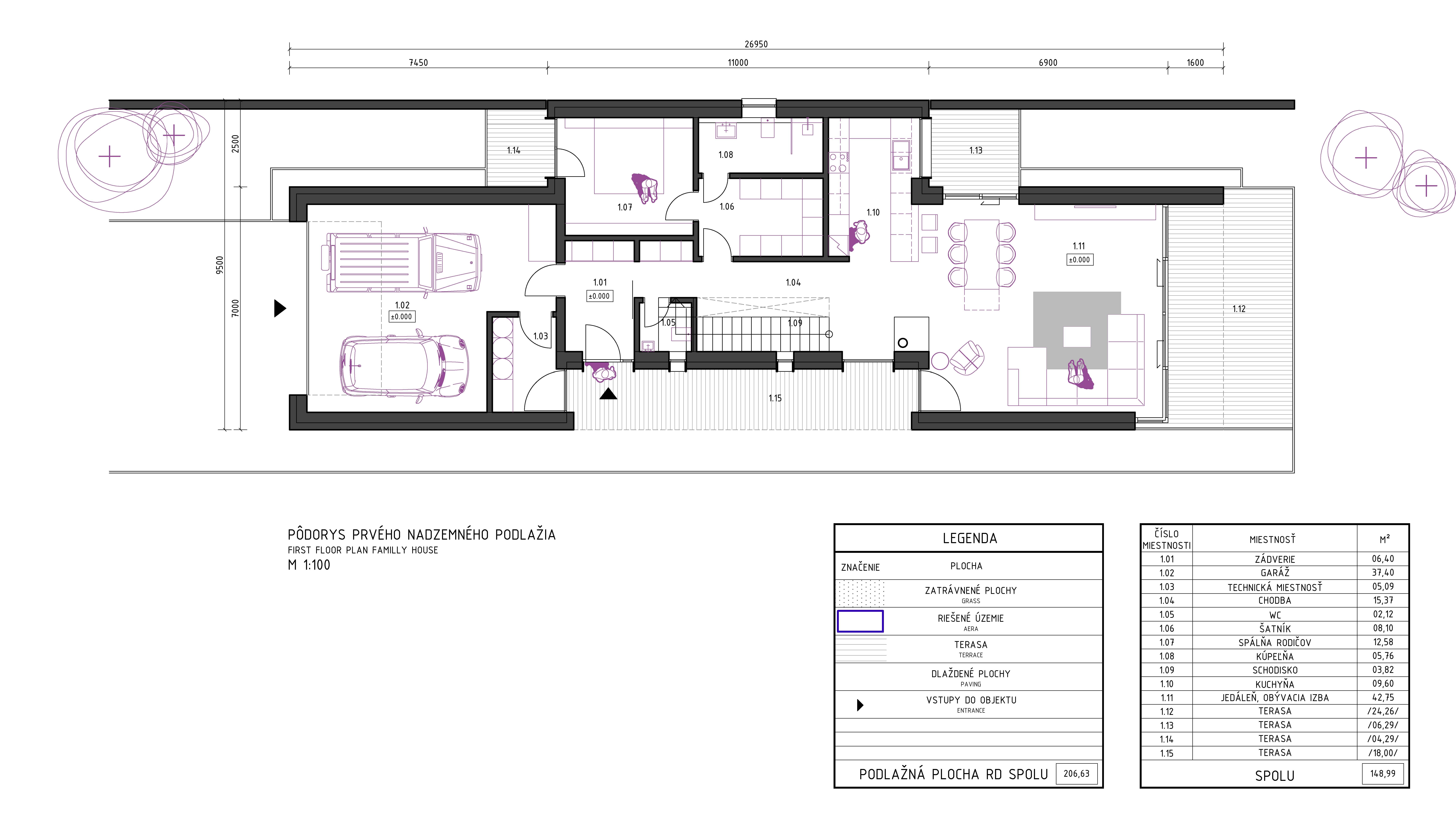 Pôdorys domu - projekt domu na úzky pozemok