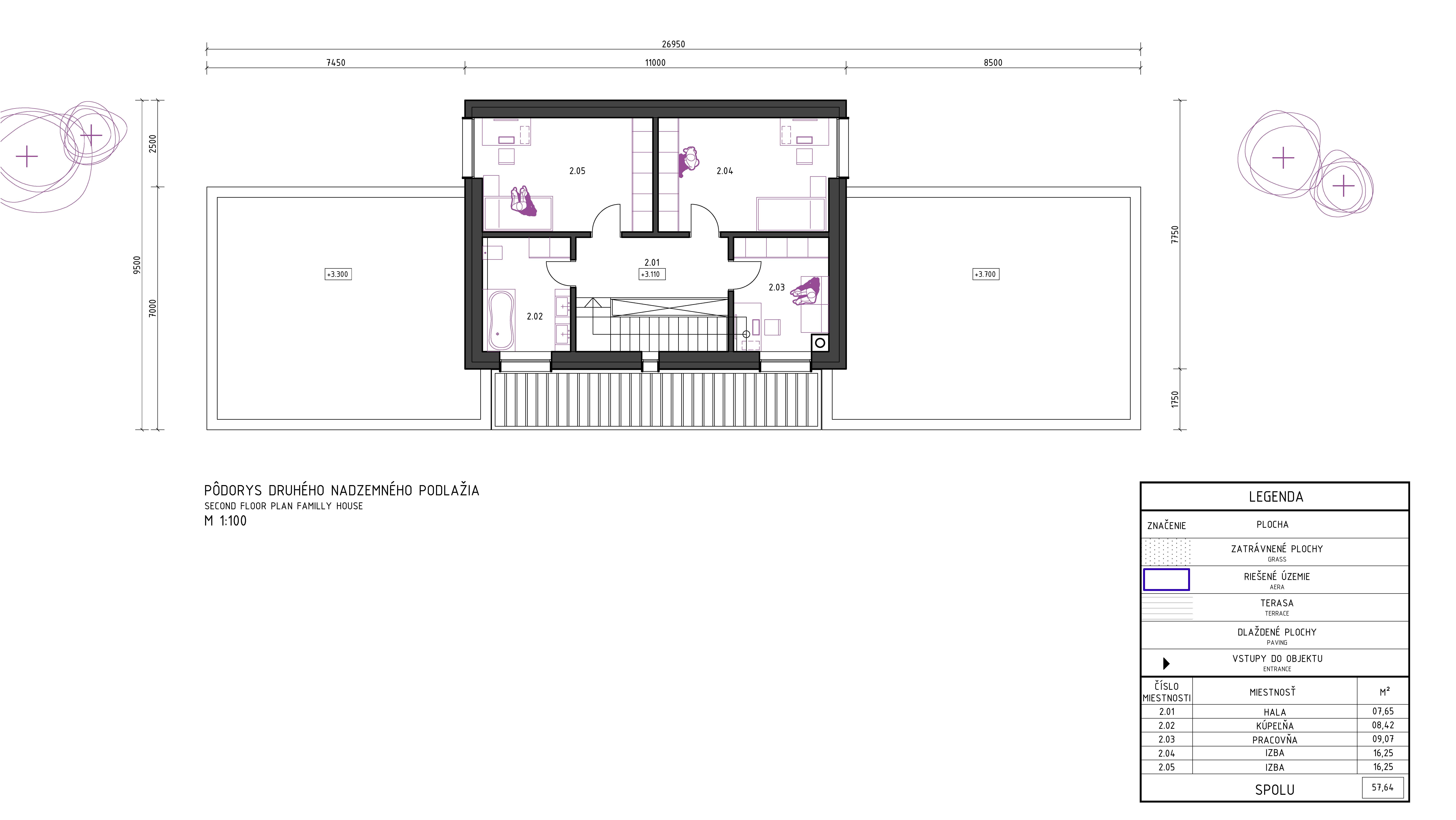 Pôdorys poschodoveho domu - návrh domu