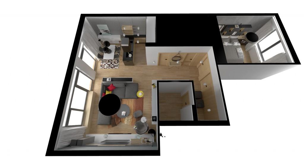 Vizualizácia bytu - návrh interiéru