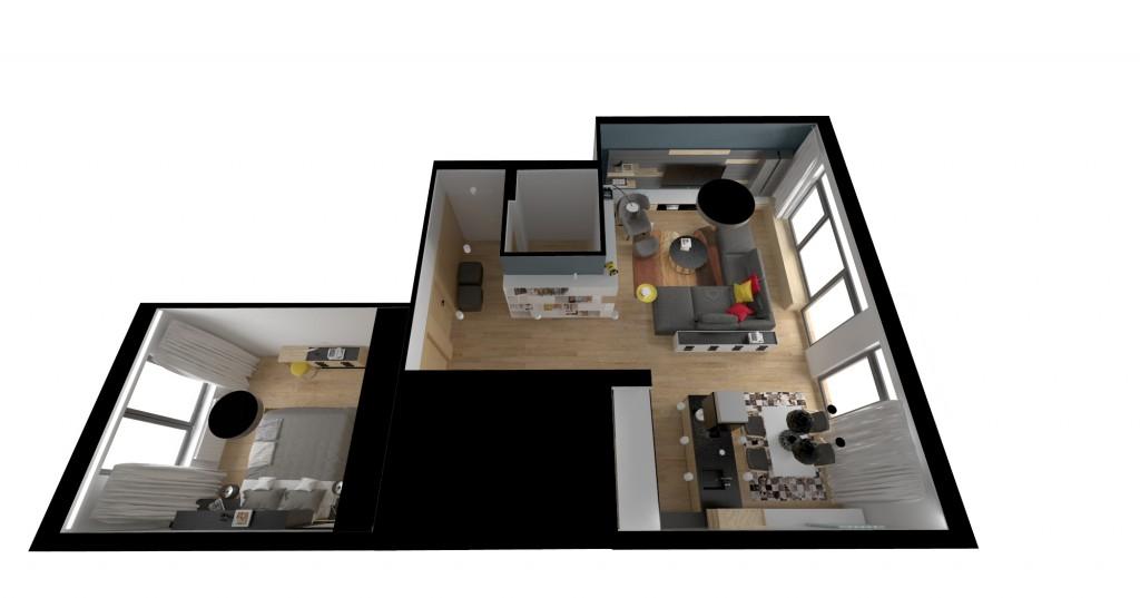Vizualizácia interiéru - pôdorys bytu