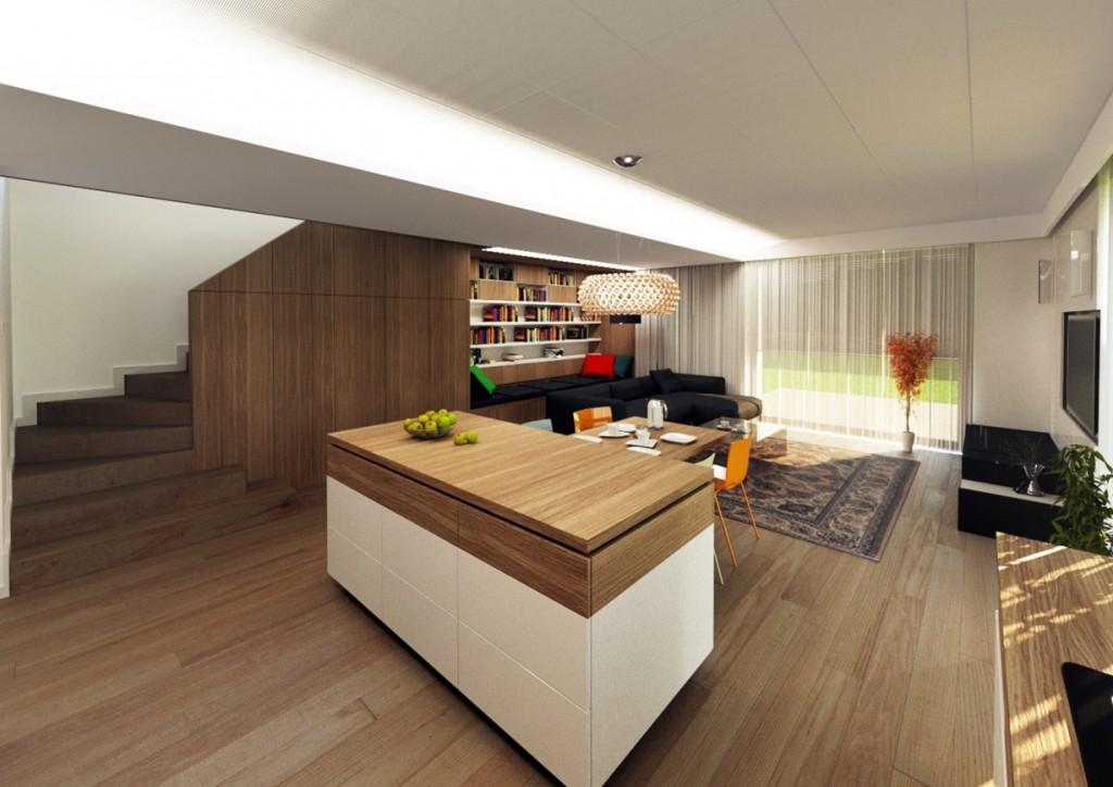 interiér dizajn - kuchyňa, obývačka, schody