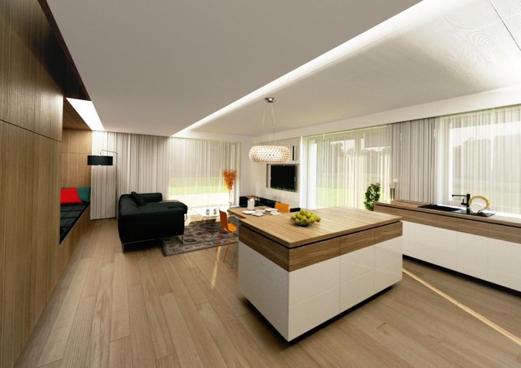 Interiér kuchyne s obývačkou