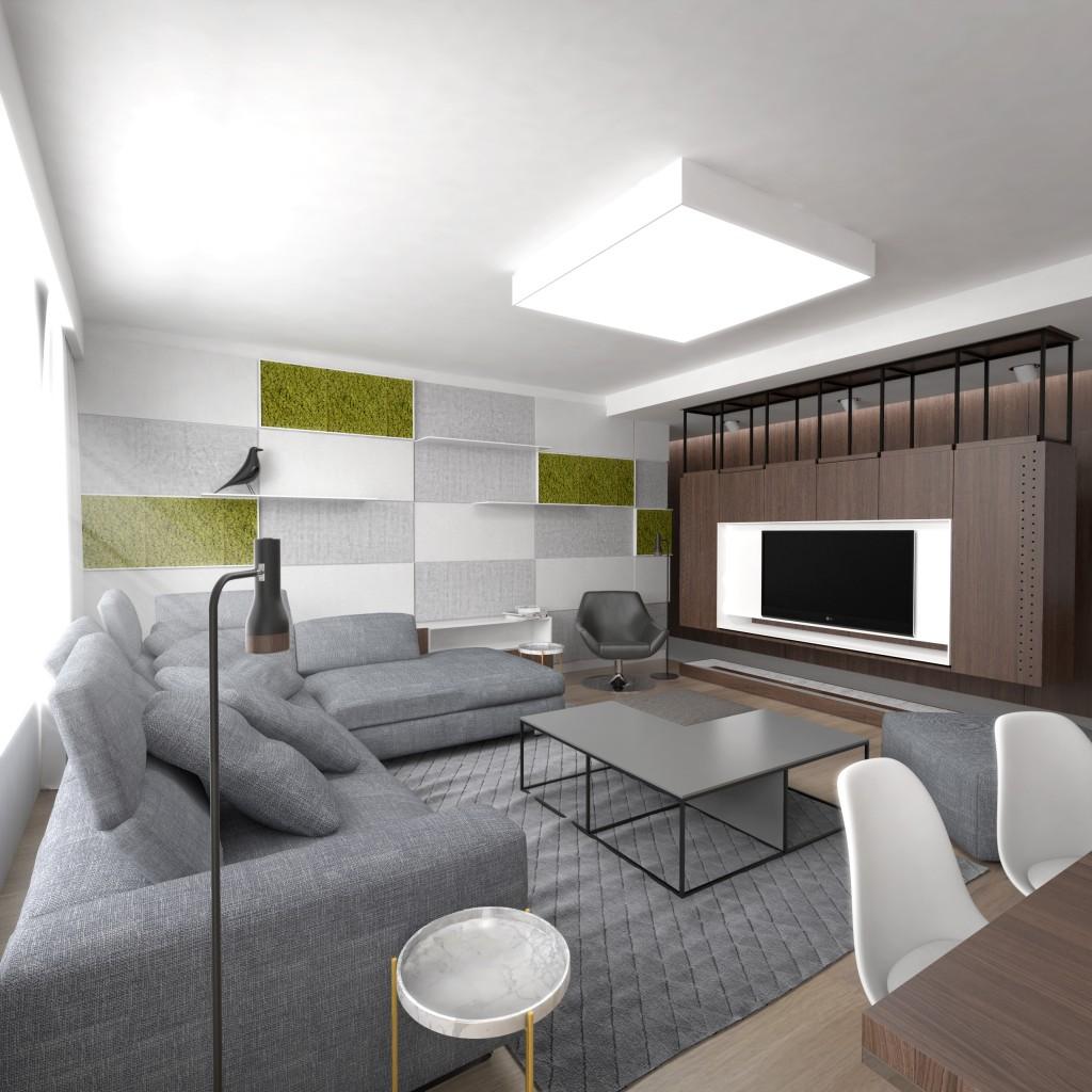 Interiérový architekt - návrh modernej obývačky