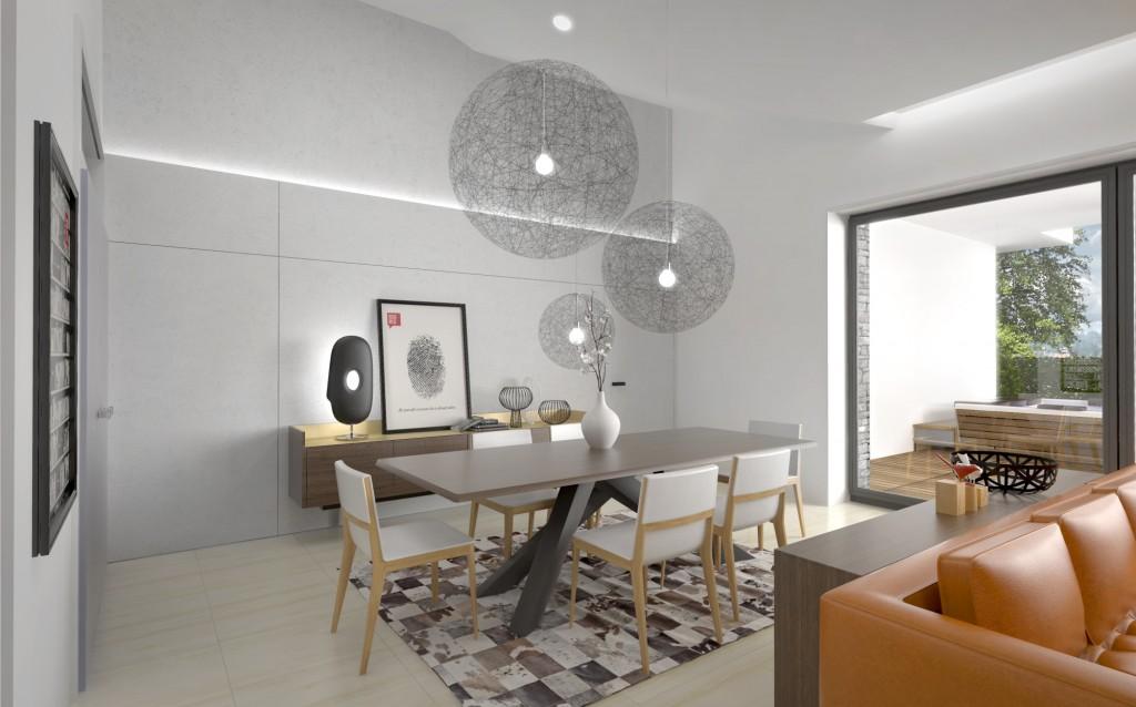 Moderný interiérový dizajn domu - obývačka