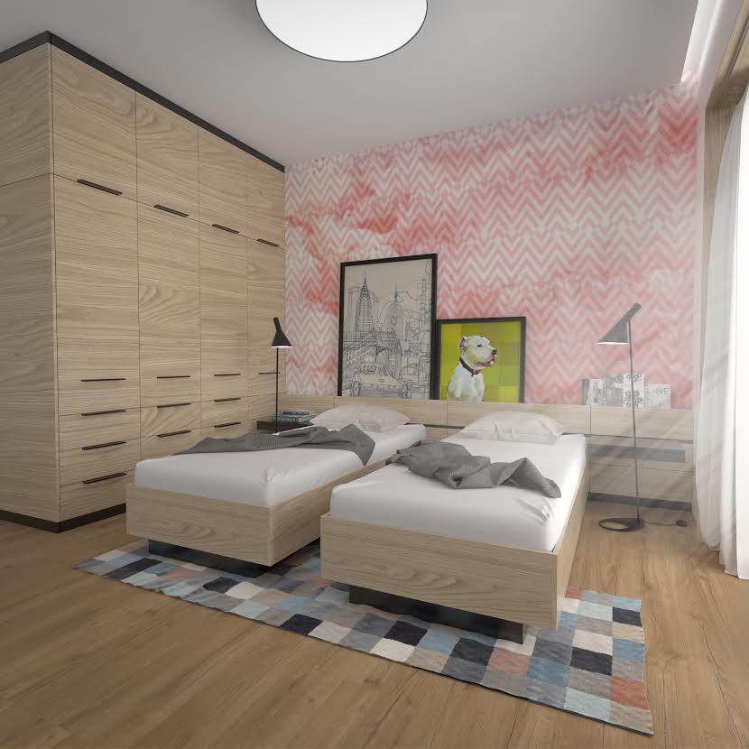 Interiérový dizajn - spálňa,. vstavaná skriňa