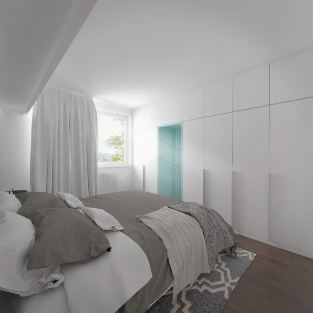 Interiérový dizajn - spálňa, vstavaná skriňa