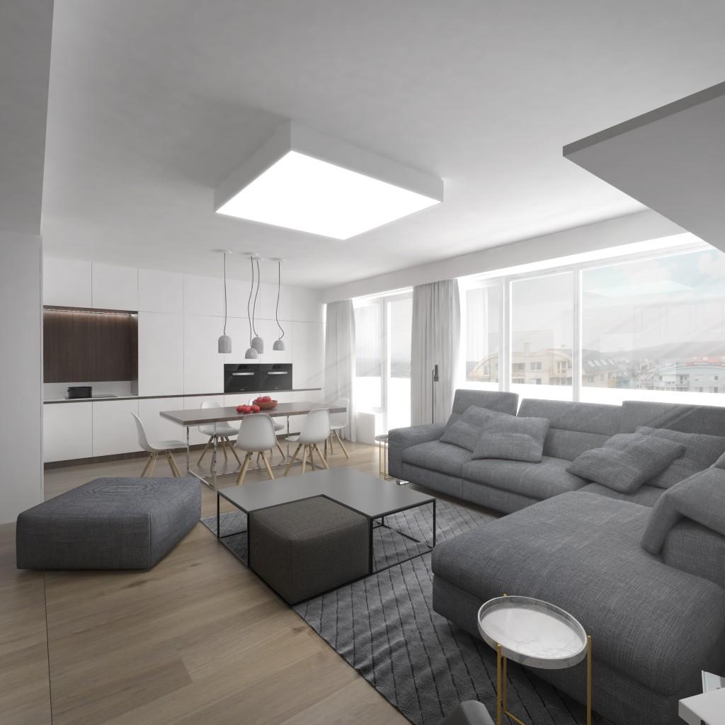 Moderný interiérový dizajn - priestranná miestnosť