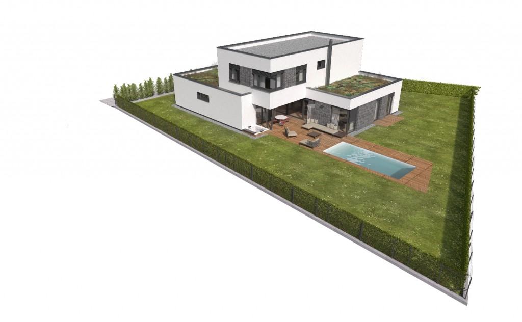Vizualizácia domu s bazénom