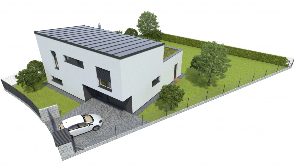 Vizualizácia - poschodový dom s garážou