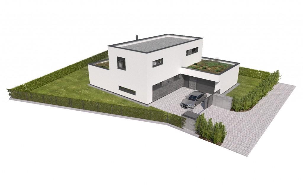 Vizualizácia poschoového domu s garážou