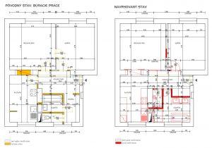 povodný a navrhovaný stav pri rekonštrukcii starého tehlového bytu