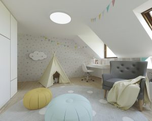 Podkrovné izby interiér - bytový dizajnér, Bratislava