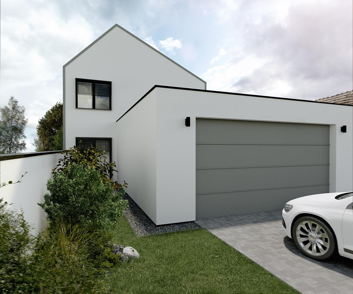 dom s garážou na úzky pozemok