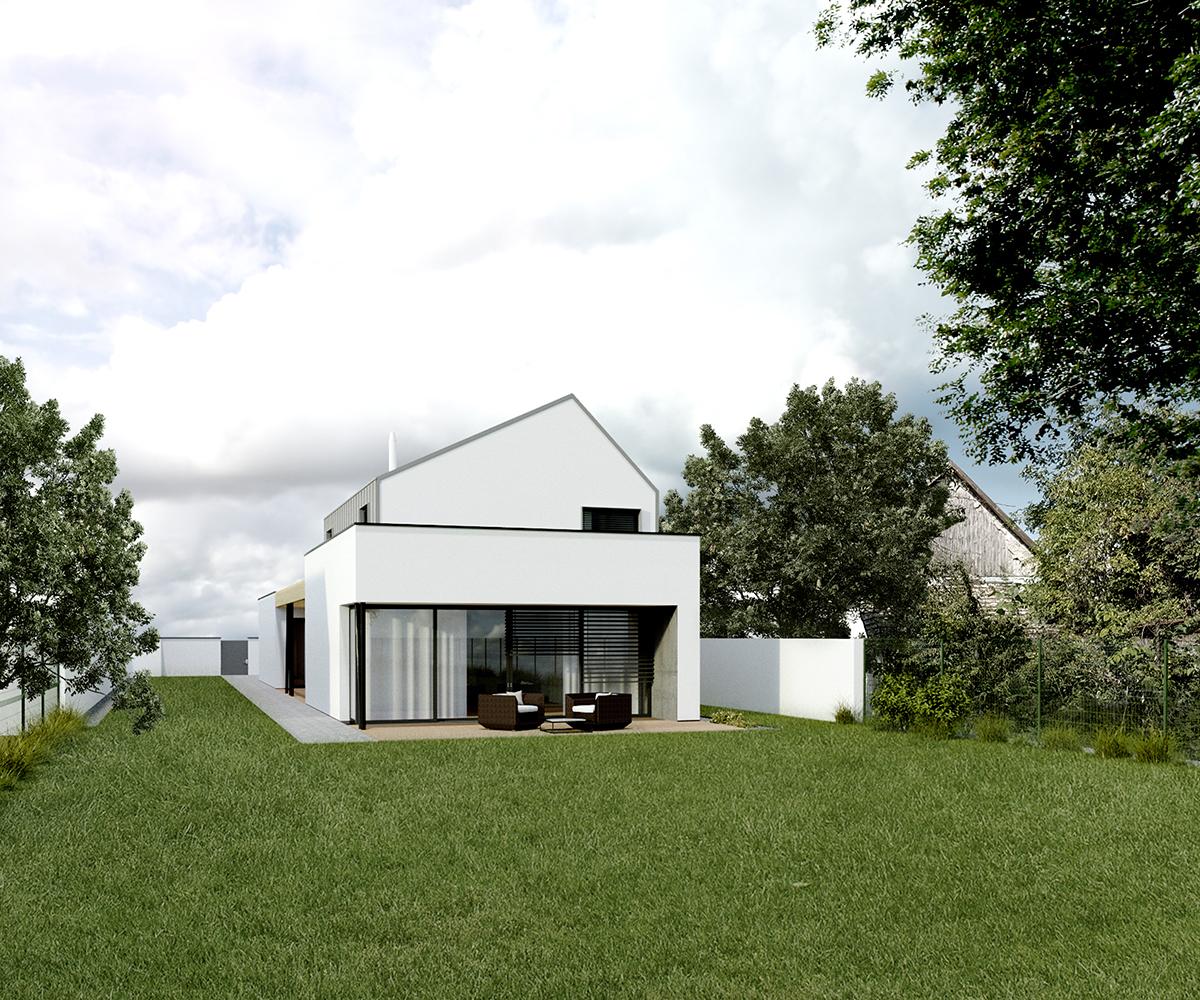 dom na uzkom pozemku