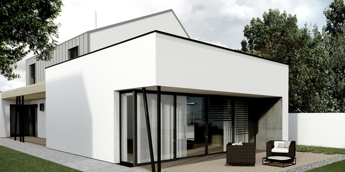 uzky dom s garazou