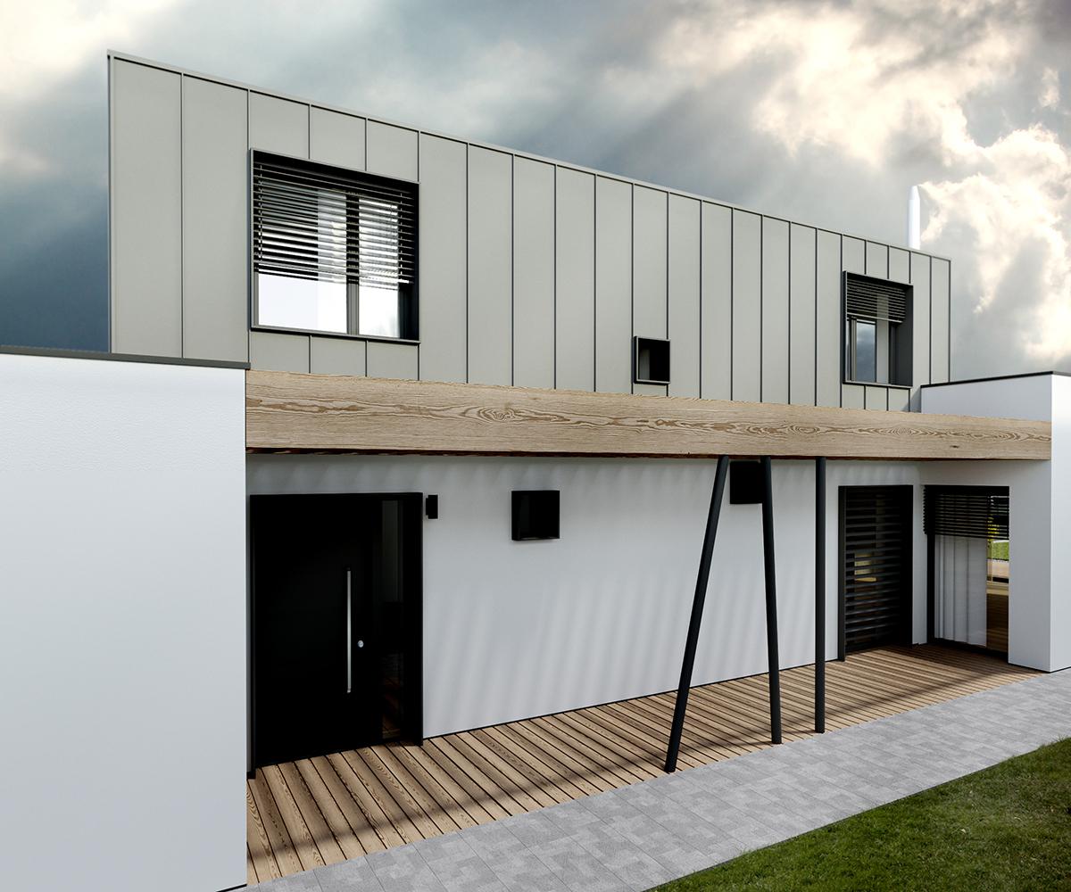 uzky poschodovy dom vizualizácia