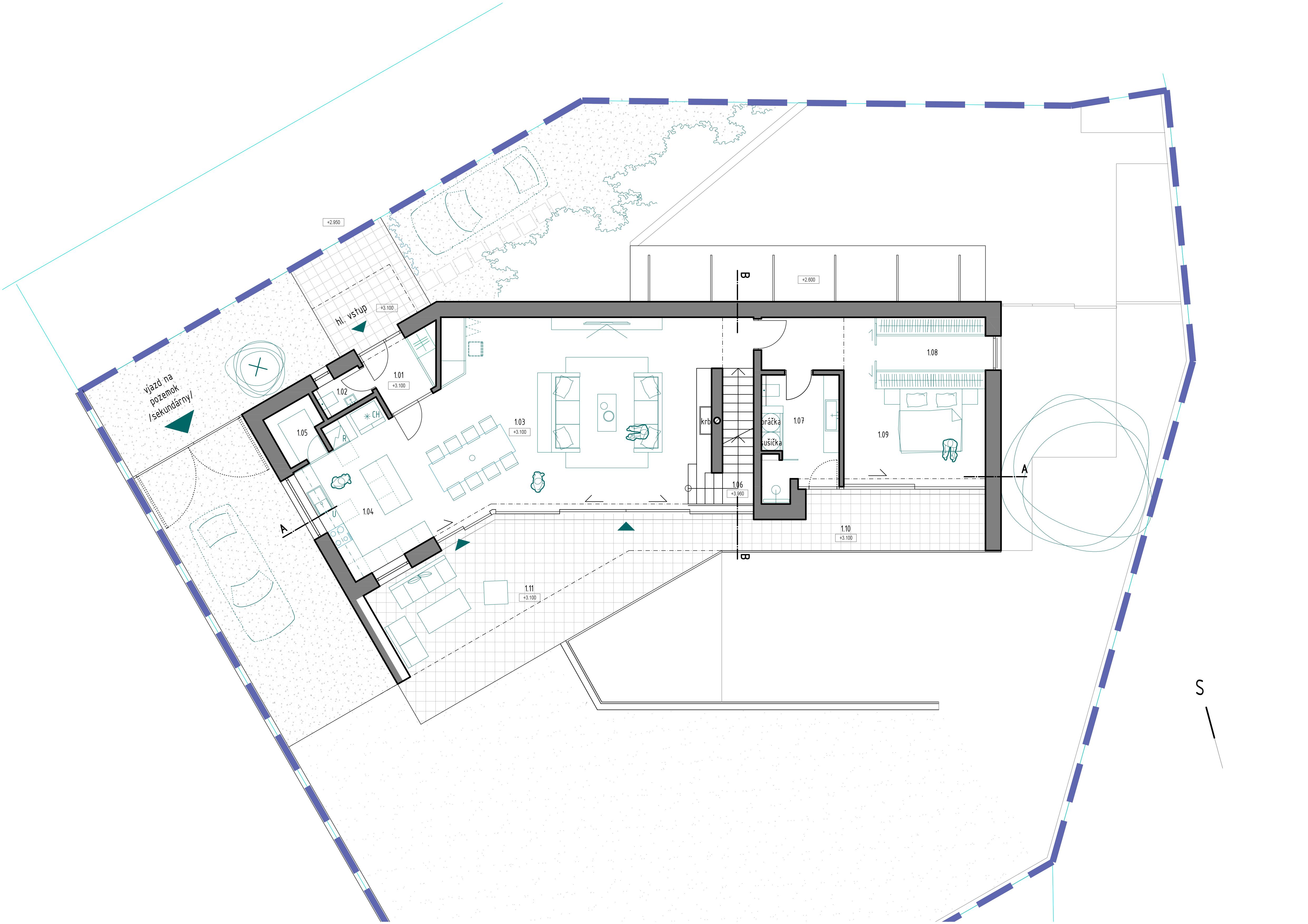 projekty domov do mierneho svahu