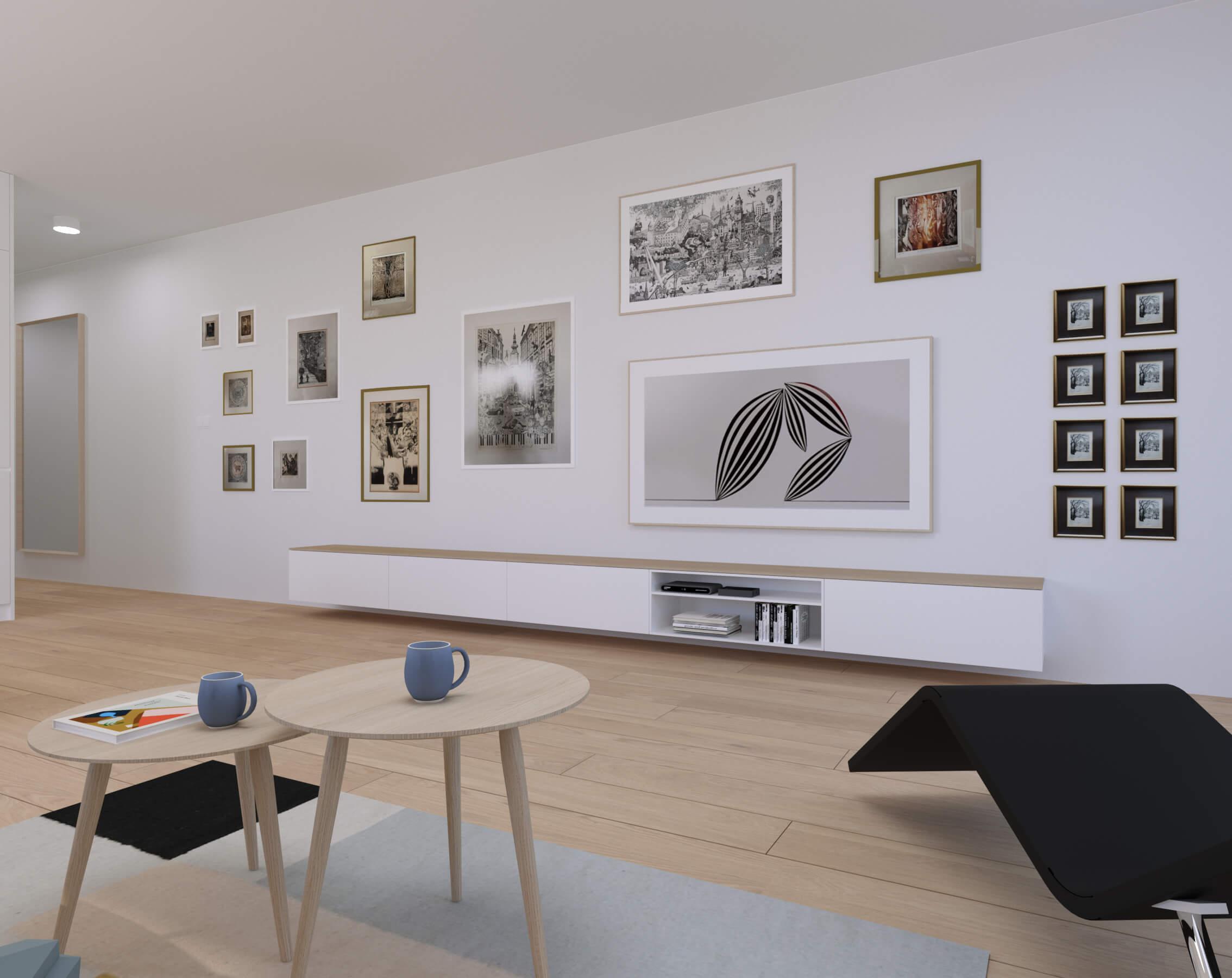 interierovy dizajn obývačka - projekt, vizualizácia, bratislava