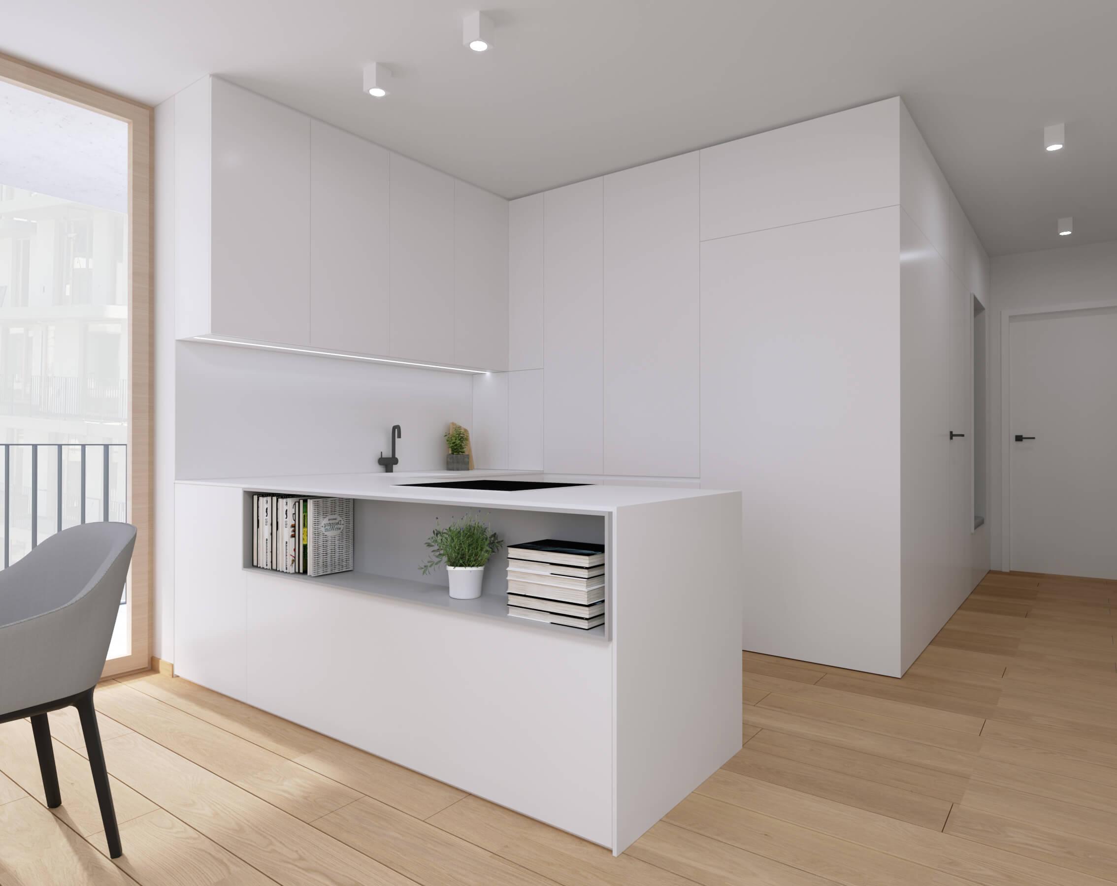 moderné zariadenie bytu obývačka projekt, vizualizácia