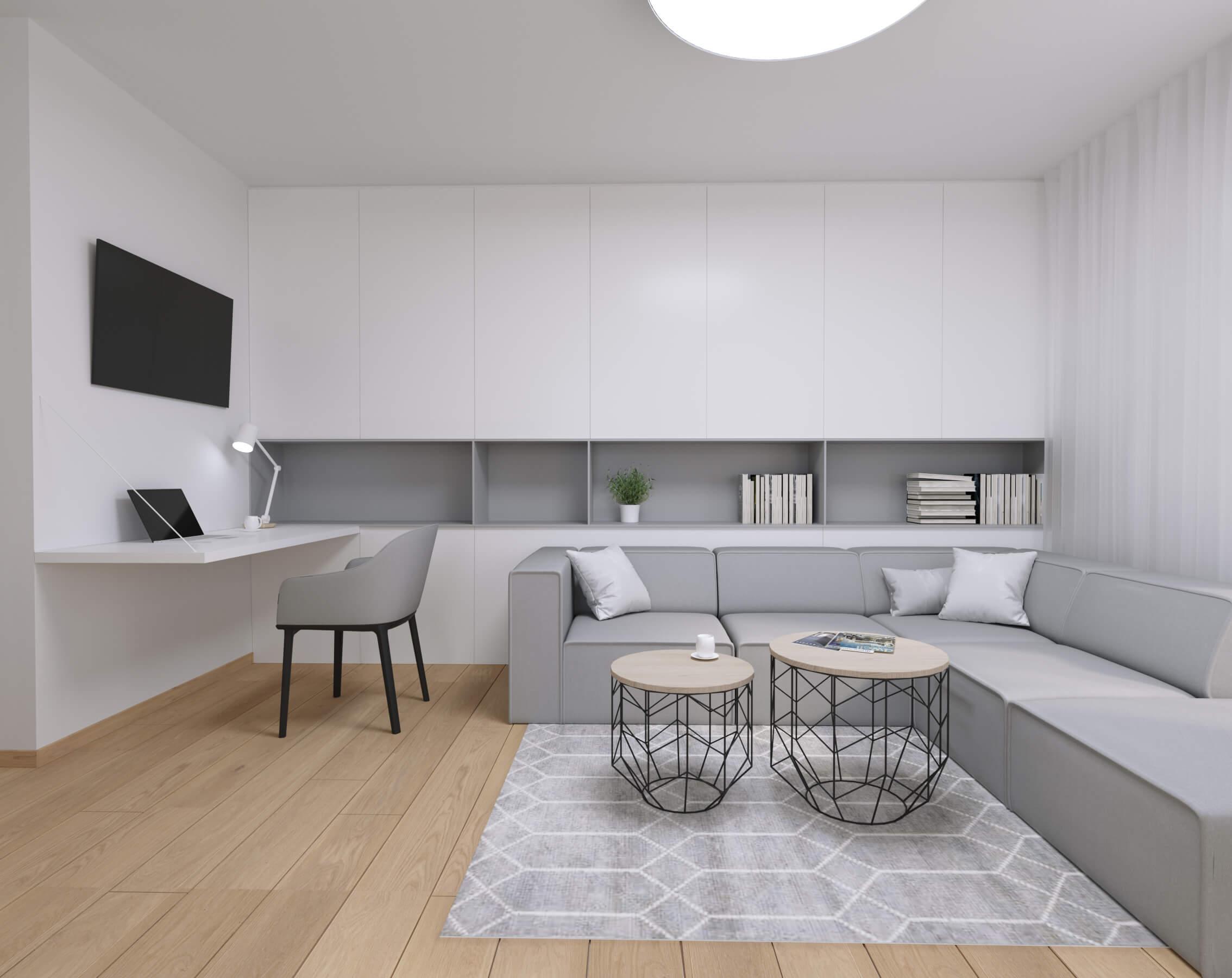 moderné zariadenie bytu obývačka - návrh bytového architekta
