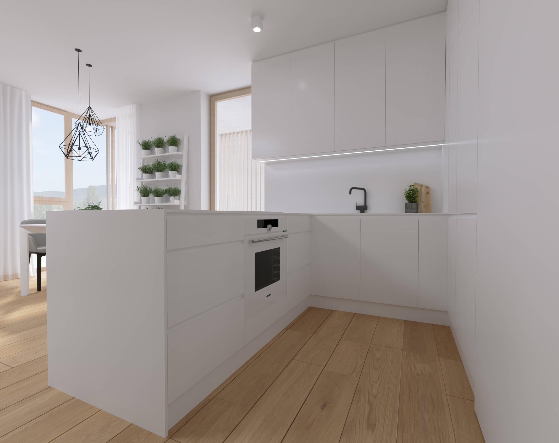 moderné zariadenie bytu kuchyňa projekt, vizualizácia