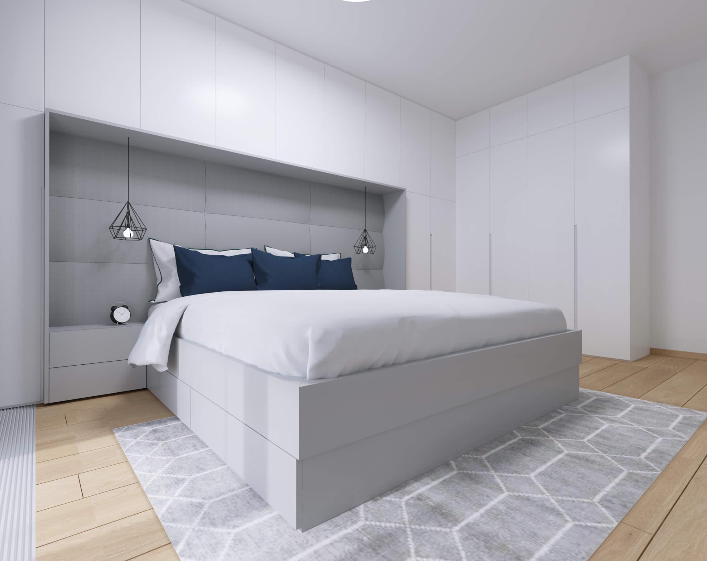 moderné zariadenie bytu spálňa projekt, vizualizácia